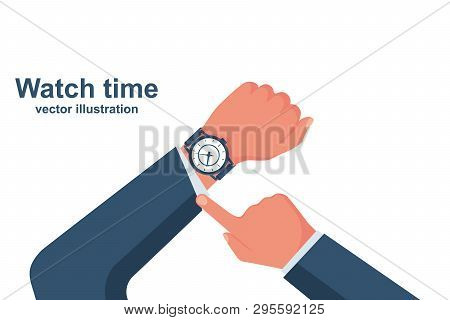 Looking Time. Human In A Suit Watching Time. Time Control. Vector Illustration Flat Design. Isolated