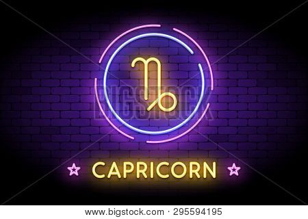 The Capricorn Zodiac Symbol, Horoscope Sign In Trendy Neon Style On A Wall. Capricorn Astrology Sign