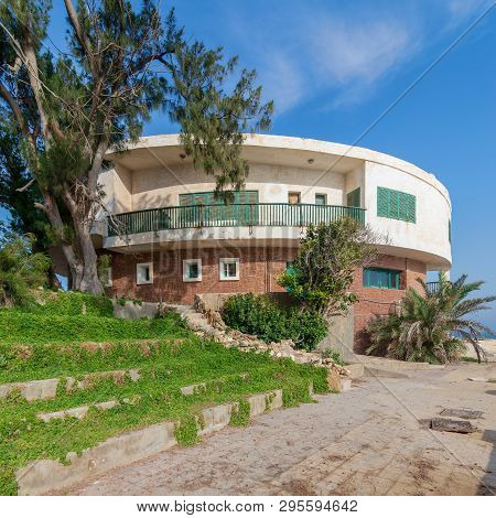 Alexandria, Egypt - April 29 2018: External Shot Of An Old House By The Mediterranean Sea At Montaza