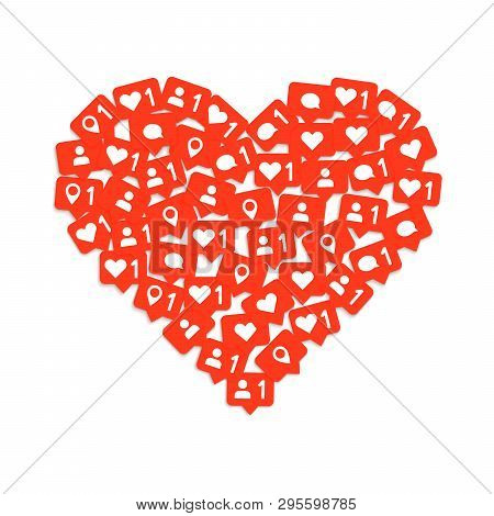 Heart Shape Media Composition With Like, Comment And Subscription. Social Media Like. Vector Illustr