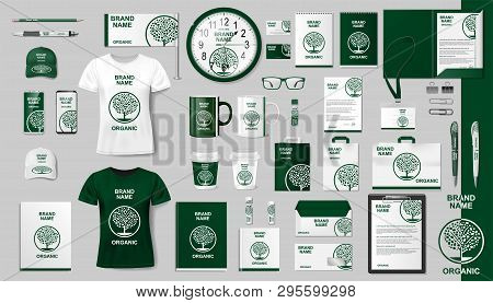 Corporate Branding Identity Template Design. Modern Eco Business Stationery Mockup Set. Organic Styl