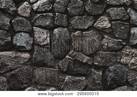 Stone Wall Background. Wall Cement Background. Old Cement Texture. Concrete Surface. Black Dark Back