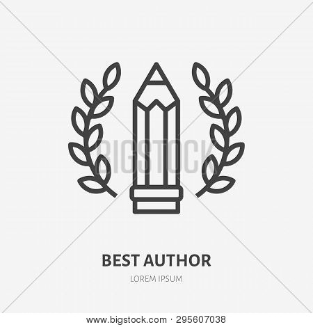 Best Author Achievement Flat Line Icon. Pen With Wreath Vector Illustration. Thin Sign For Literary,