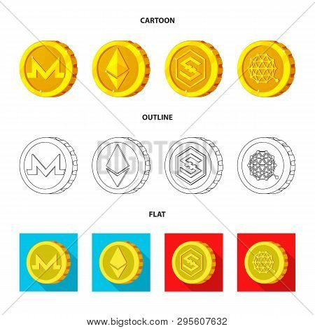 Vector Illustration Of Cryptocurrency And Coin Icon. Collection Of Cryptocurrency And Crypto Stock S