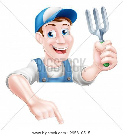 A Cartoon Gardening Mascot Gardener Man Holding A Garden Fork And Pointing