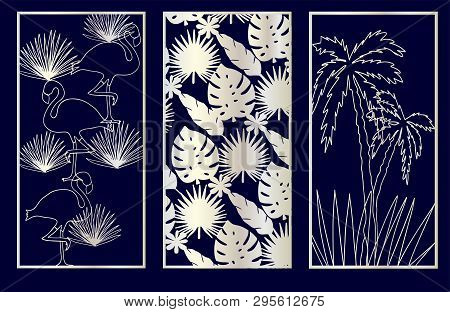 Set Of Decorative Laser Cut Panels With Summer Related Elements: Monstera, Flamingo, Palm Tree. Vect