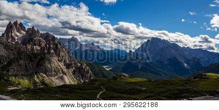 Majestic High Mountain View Of Dolomites Mountain When Hiking Around Tre Cime Di Lavaredo, Italy
