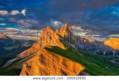 Amazing Sunset View Of Odle Mountain Range In Dolomites, Italy From Seceda Summit
