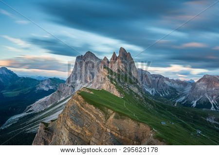 Beautiful Landscape Of Odle Mountains In Dolomites, Italy From Seceda At Sunset.