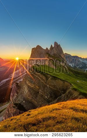 Beautiful Sunrise And Odle Mountain Landscape In Dolomites, Italy From Seceda Peak.