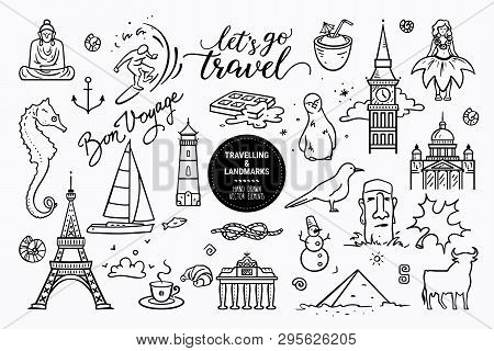 European Sights, Landmarks All Around The World, Travel Icons, Marine Cruise Icons. Vector Collectio