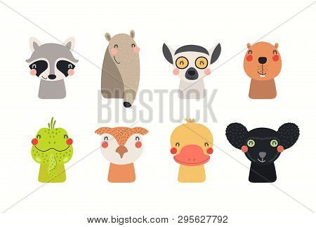 Big Set Of Cute Funny Animals Faces. Isolated Objects On White Background. Hand Drawn Vector Illustr