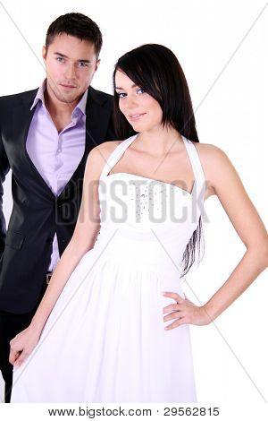 Loving couple standing in the studio