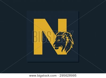 Lion Head Inside Letter N. Abstract, Creative Emblem For Logotype, Brand Identity, Company, Corporat