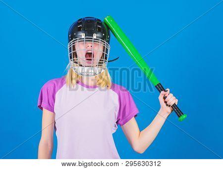 Girl Just Want Have Fun. Play Game For Fun. Woman Having Fun During Baseball Game. Girl Pretty Blond