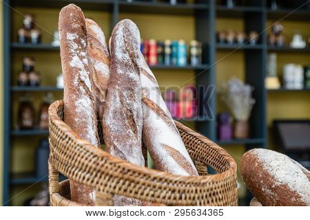 Freshly Made Bread In Bakery. Whole Grain Organic Loaf Beautiful Delicious French Style Baguette Han