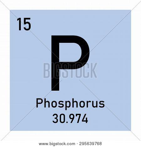 Periodic Table Element Phosphorus Icon On White Background