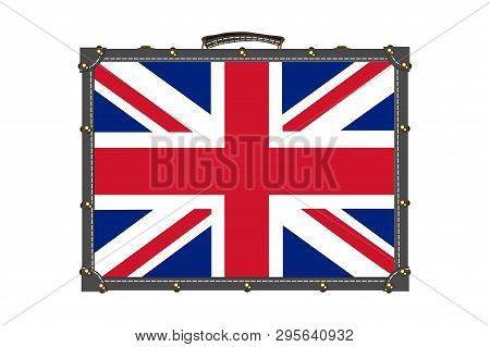 Suitcase With British Flag Pattern Vector Illustration On White Background