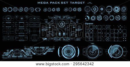 Mega Pack Set Target. Hud Futuristic User Interface. Futuristic Virtual Graphic Touch User Interface