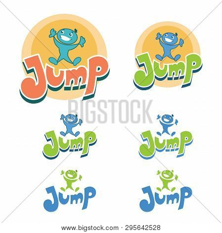 Illustration Of A Colorful Trampoline Park Logo Design In Cartoon Style