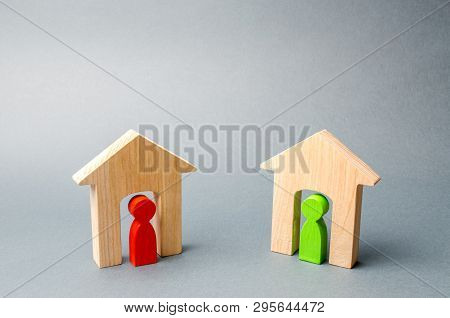 Two Wooden Houses With Neighbors Inside. Good Neighborhood, District. Communication Between People A