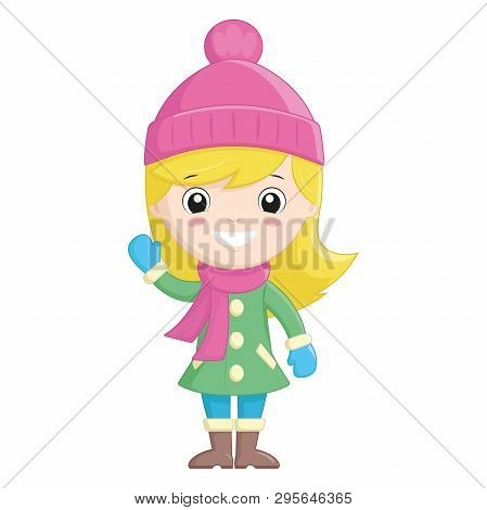 Illustration Of A Little Girl In Winter Clothes Waving Hand