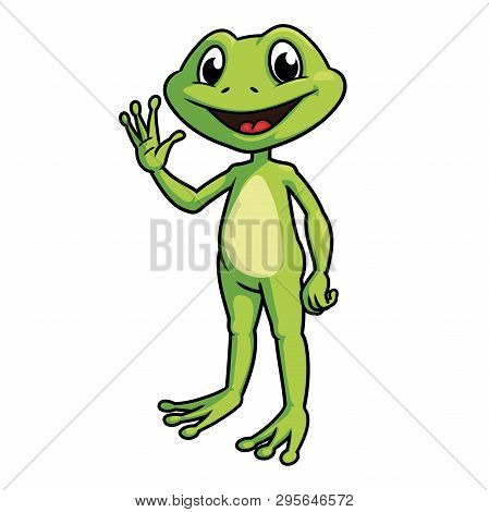 Illustration Of A Smiling Frog Waving Hand A White Background