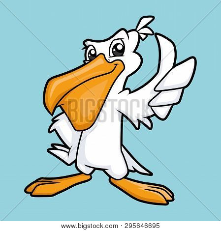 Illustration Of A Cool Smiling Pelican Showing Thumb Up Gesture