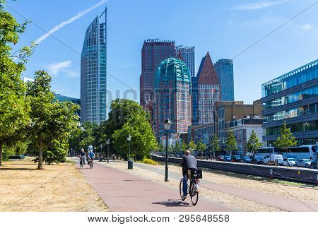 The Hague, The Netherlands - July 12 2018: Tall Buildings Of The Hague City Skyline On Sunny Day