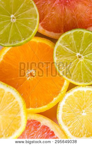Delicious Juicy Assorted Sliced Colourful Citrus Fruits