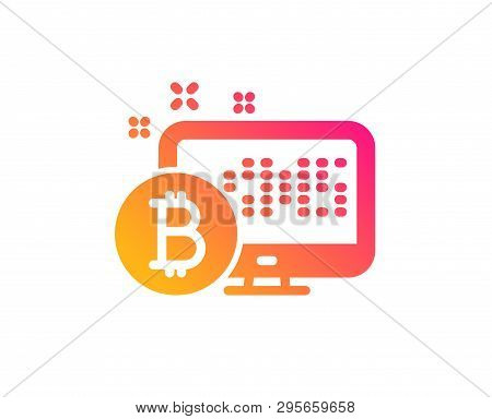 Bitcoin Icon. Cryptocurrency Monitor Sign. Crypto Money Symbol. Classic Flat Style. Gradient Bitcoin