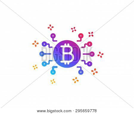 Bitcoin System Icon. Cryptocurrency Scheme Sign. Crypto Money Symbol. Dynamic Shapes. Gradient Desig