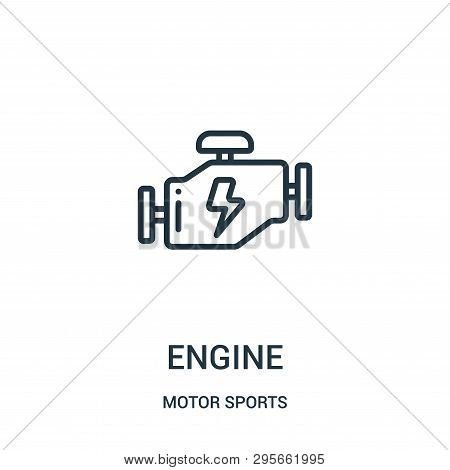 Engine Icon Isolated On White Background From Motor Sports Collection. Engine Icon Trendy And Modern