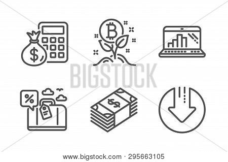 Finance Calculator, Bitcoin Project And Graph Laptop Icons Simple Set. Travel Loan, Usd Currency And