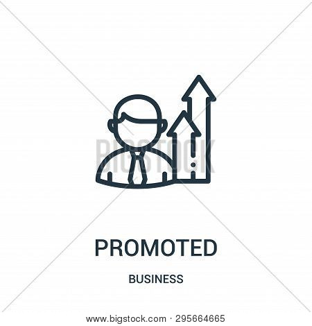 Promoted Icon Isolated On White Background From Business Collection. Promoted Icon Trendy And Modern