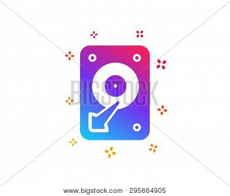 Hdd Icon. Hard Disk Storage Sign. Hard Drive Memory Symbol. Dynamic Shapes. Gradient Design Hdd Icon