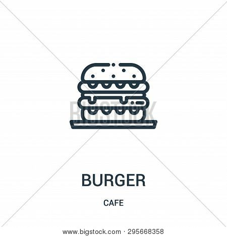 Burger Icon Isolated On White Background From Cafe Collection. Burger Icon Trendy And Modern Burger
