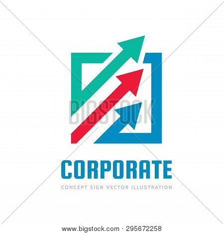Corporate Progress - Concept Business Logo Template Vector Illustration. Abstract Arrows System Crea