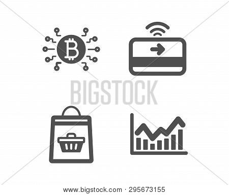 Set Of Online Buying, Bitcoin System And Contactless Payment Icons. Infochart Sign. Shopping Cart, C