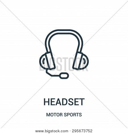 Headset Icon Isolated On White Background From Motor Sports Collection. Headset Icon Trendy And Mode