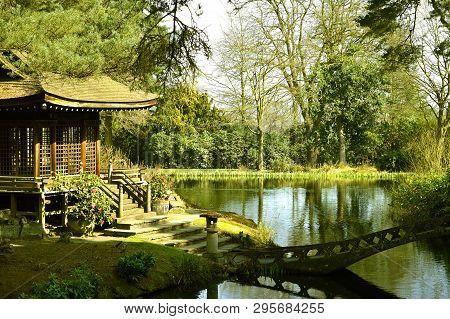 Tatton Park, Cheshire, England, Uk, Europe - March 27, 2017 : Shinto Shrine In The Japanese Tea Gard