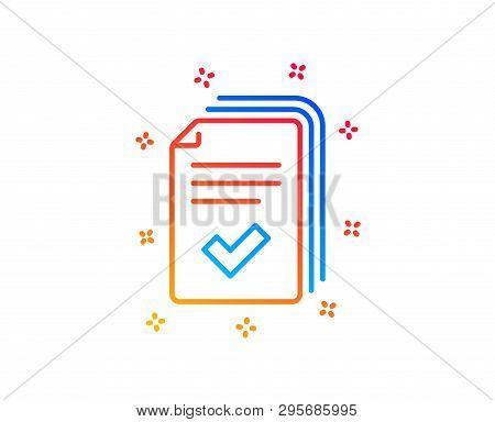 Handout Line Icon. Documents Example Sign. Gradient Design Elements. Linear Handout Icon. Random Sha