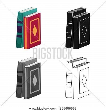 Vector design of book and text sign. Set of book and encyclopedia  stock vector illustration. poster