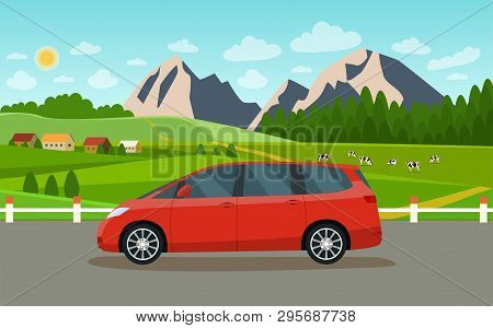 Minivan. Summer Landscape With Village And Herd Of Cows On The Field. Vector Flat Style Illustration