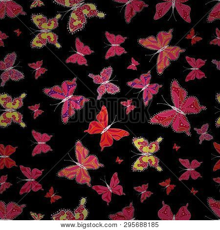 Wildlife Insect Fauna Backdrop For Cover. Vector Design. Nature Butterfly Repeat Theme In Red, Pink