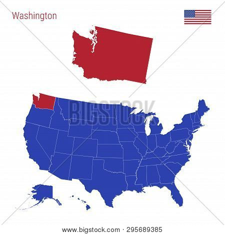 The State Of Washington Is Highlighted In Red. Blue Vector Map Of The United States Divided Into Sep
