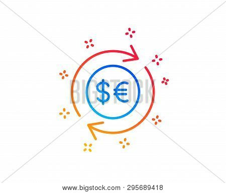 Money Exchange Line Icon. Banking Currency Sign. Euro And Dollar Cash Transfer Symbol. Gradient Desi