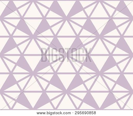 Vector Triangles Pattern. Abstract Geometric Seamless Texture In Lilac And White Color. Simple Ornam