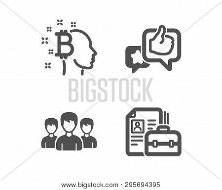 Set Of Bitcoin Think, Like And Group Icons. Vacancy Sign. Cryptocurrency Head, Star Rating, Group Of
