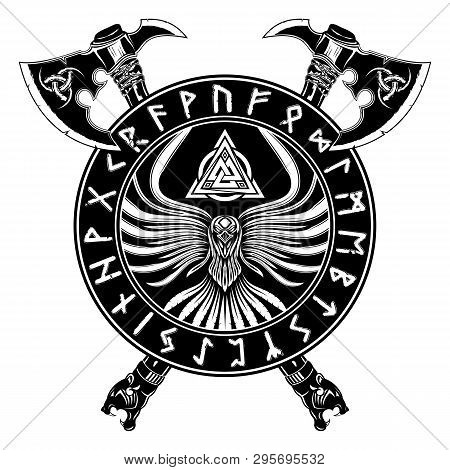Vector Image Of Two Fighting Axes. Crow Symbol Of Vikings. Runic Alphabet. Warrior Board. Illustrati